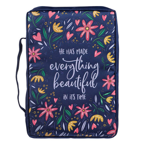 He Has Made Everything Beautiful Navy Floral Value Bible Cover - Ecclesiastes 3:11