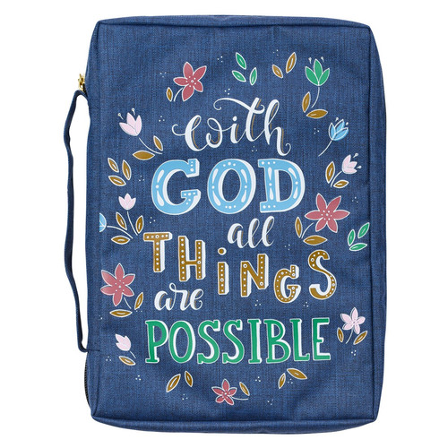 With God All Things Are Possible Navy Floral Value Bible Cover - Matthew 19:26