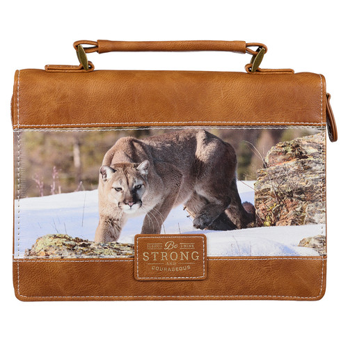 Be Strong and Courageous Scenic Mountain Lion Brown Faux Leather Classic Bible Cover – Joshua 1:9