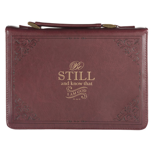 Burgundy Be Still and Know Classic Faux Leather Bible Cover - Psalm 46:10