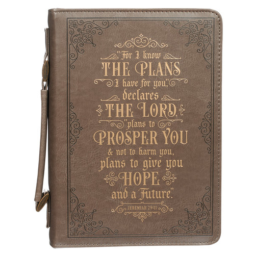 For I know the Plans Brown Faux Leather Classic Bible Cover - Jeremiah 29:11