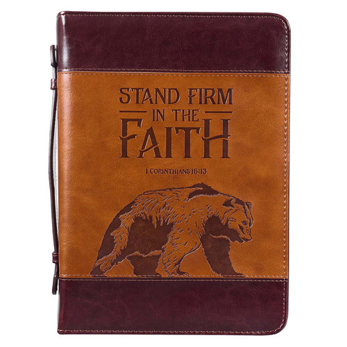 Stand Firm Two-tone Brown Faux Leather Classic Bible Cover - 1 Corinthians 16:13