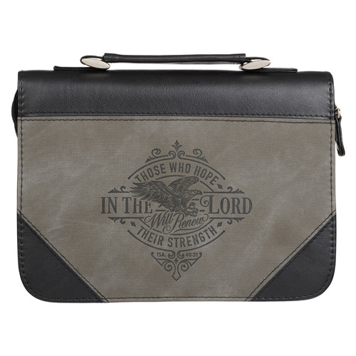 Hope in the LORD Two-tone Black and Gray Faux Leather Classic Bible Cover – Isaiah 40:31