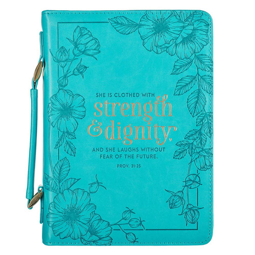 Strength & Dignity Teal Faux Leather Fashion Bible Cover - Proverbs 31:25