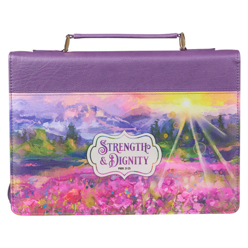 Strength & Dignity Colorful Landscape Faux Leather Fashion Bible Cover – Proverbs 31:25
