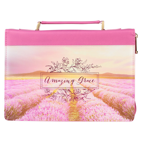 Amazing Grace Flower Field Pink Faux Leather Fashion Bible Cover