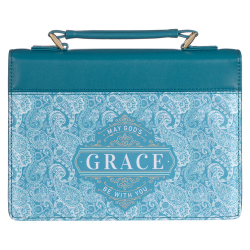 Gods Grace Teal Paisley Faux Leather Fashion Bible Cover