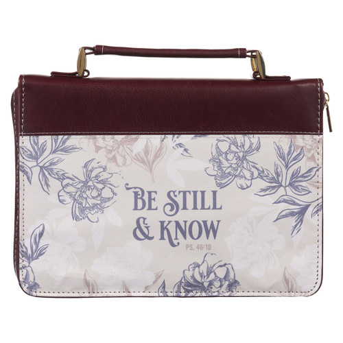 Be Still and Know Neutral Florals Faux Leather Fashion Bible Cover – Psalm 46:10