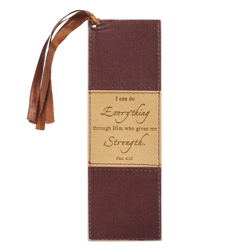 I Can Do Everything Two-tone Faux Leather Bookmark - Philippians 4:13