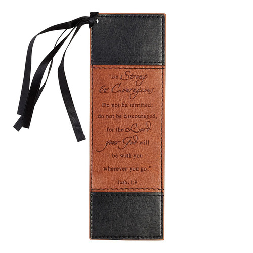 Strong & Courageous Black and Tan Faux Leather Bookmark - Joshua 1:9