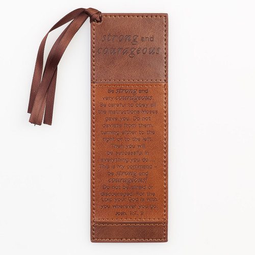 LuxLeather PageMarker: Strong And Courageous - Joshua 1:7,9