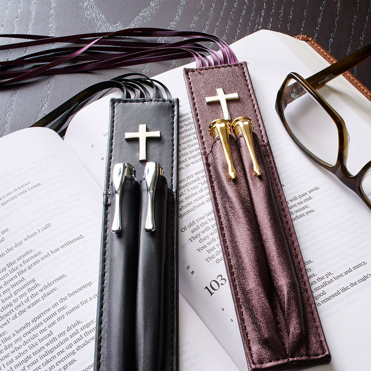 bible bookmark with two pen holders in purple christian art gifts