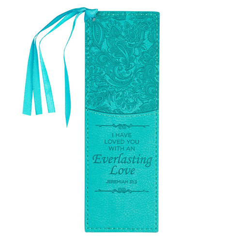 Everlasting Love Teal Faux Leather Bookmark - Jeremiah 31:3