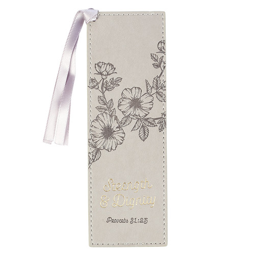 Strength & Dignity Taupe Faux Leather Bookmark – Proverbs 31:25