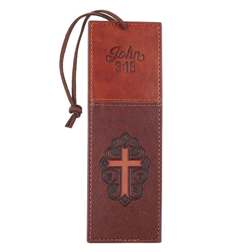 John 3:16 Collection Two-Tone Brown Faux Leather Bookmark With Cross