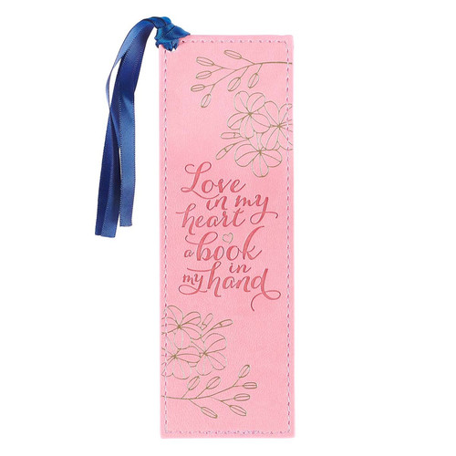 Love in My Heart Faux Leather Bookmark in Pink