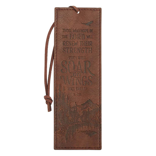 Soar Brown Faux Leather Bookmark - Isaiah 40:31