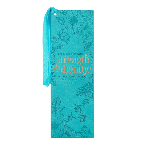 Strength & Dignity Teal Faux Leather Bookmark - Proverbs 31:25