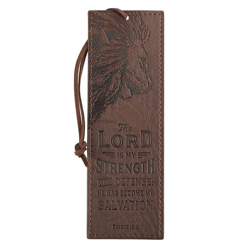 The LORD Is My Strength Brown Faux Leather Bookmark - Exodus 15:2