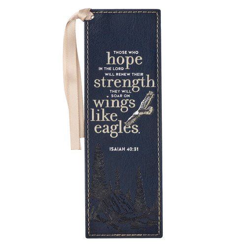 On Eagles Wings Navy Blue Faux Leather Bookmark - Isaiah 40:31