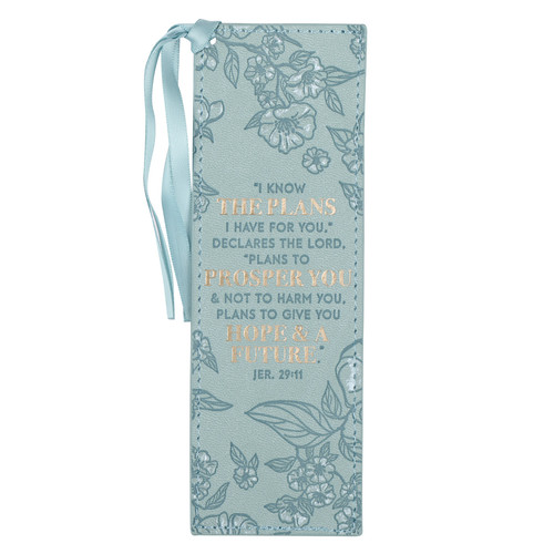 Plans to Prosper You Teal Faux Leather Bookmark – Jeremiah 29:11