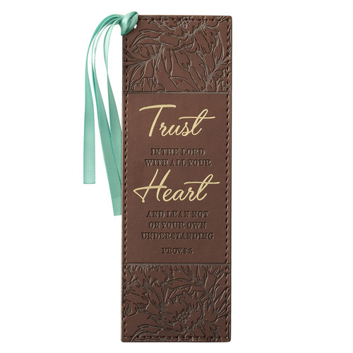 Trust With All Your Heart Brown Floral Faux Leather Bookmark - Proverbs 3:5