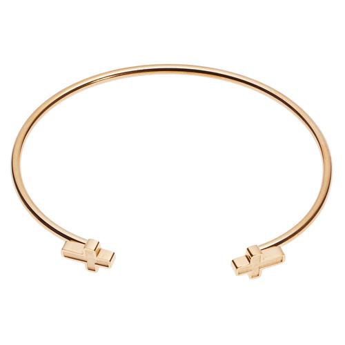 Open Cuff Cross Bracelet With Cross Ends