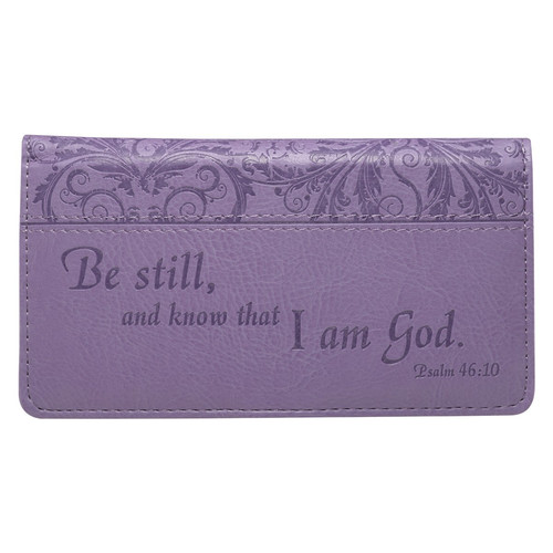 Be Still Purple Faux Leather Checkbook Cover - Psalm 46:10