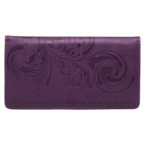 I Can Do Everything Through Him Purple Faux Leather Checkbook Cover - Philippians 4:13
