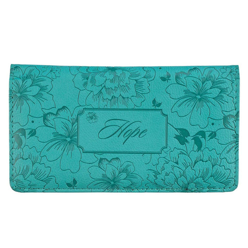 Hope Teal Faux Leather Checkbook Cover