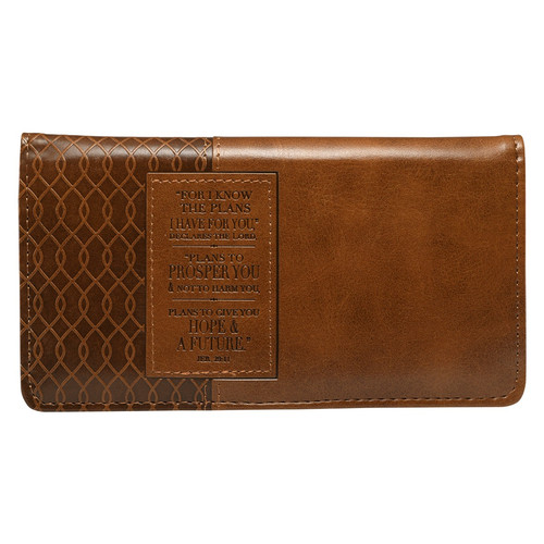 I know the Plans Faux Leather Checkbook Cover with Rectangular Patch - Jeremiah 29:11