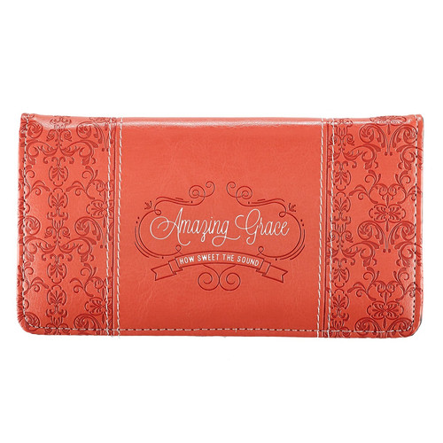Amazing Grace Coral Faux Leather Checkbook Cover