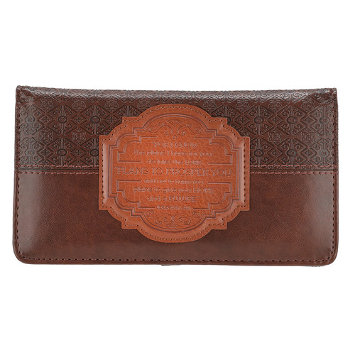 I Know the Plans Faux Leather Checkbook Cover with Decorative Patch - Jeremiah 29:11