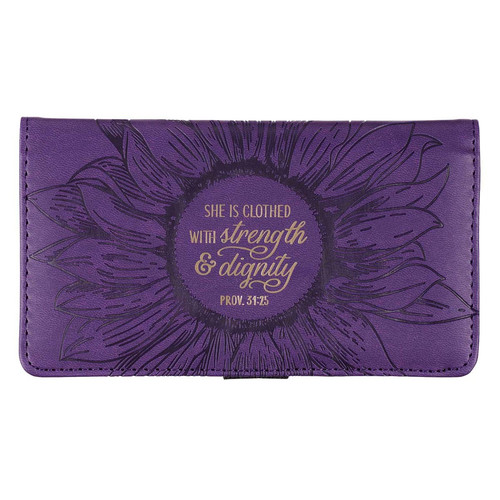 Strength and Dignity Purple Faux Leather Checkbook Cover - Proverbs 31:25
