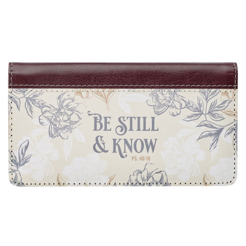Be Still & Know Neutral Florals Faux Leather Checkbook Cover– Psalm 46:10