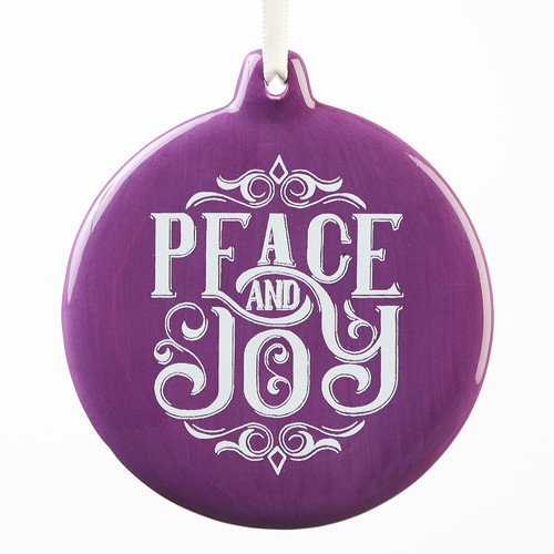 Ornament Round Peace and Joy Purple