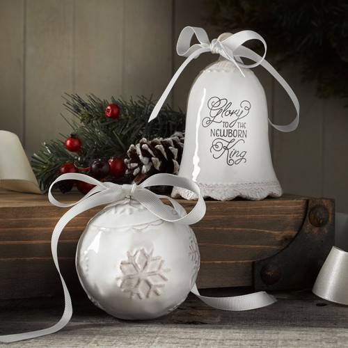 Glory Porcelain Christmas Bell & Bauble Ornament Set