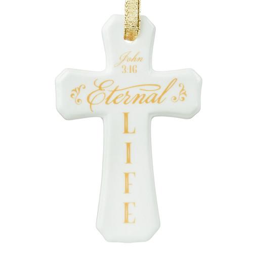 Christmas Ornament Porcelain Cross: Eternal Life - John 3:16