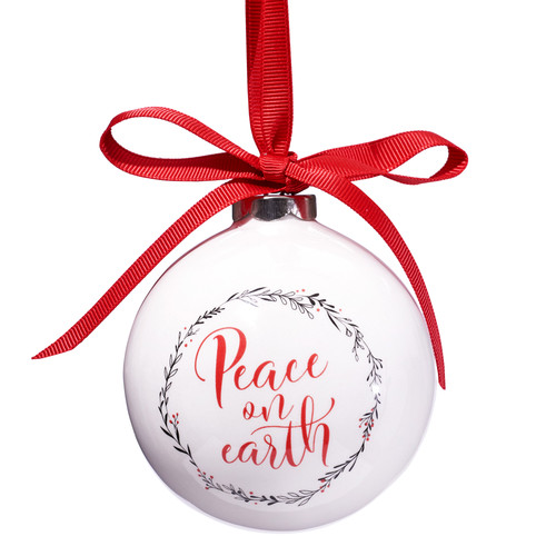 Peace On Earth Bauble Christmas Ornament