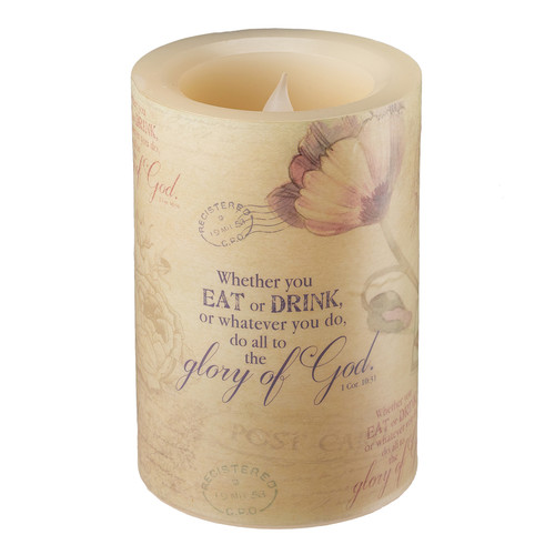 Floral Inspirations Flickering Flameless Wax Pillar Candle - Sml