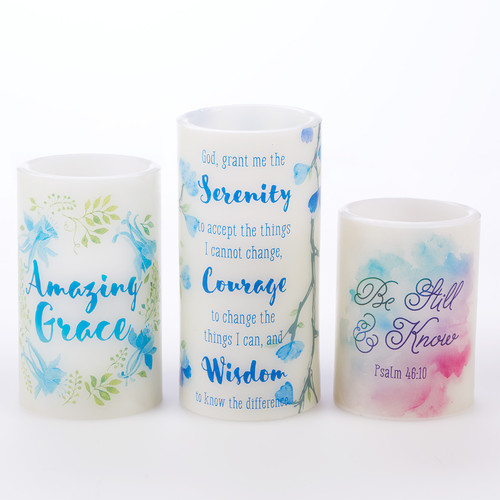 Watercolor Scripture set of 3 LED Flameless Candle Set