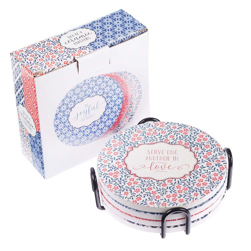 Four-piece Assorted Pattern Ceramic Coaster Set