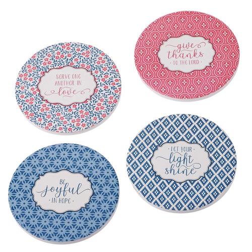 Four-piece Assorted Pattern Ceramic Coaster Set