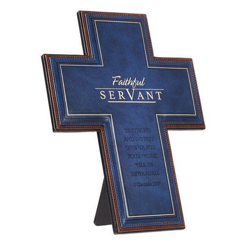 Faithful Servant Faux Leather Desktop Cross - 2 Chronicles 15:7