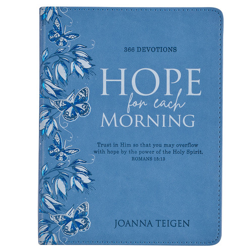 Hope For Each Morning Blue Faux Leather Devotional