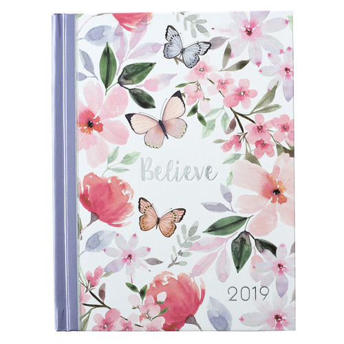 Floral Hardcover - Believe 2019 Daily Planner for Women