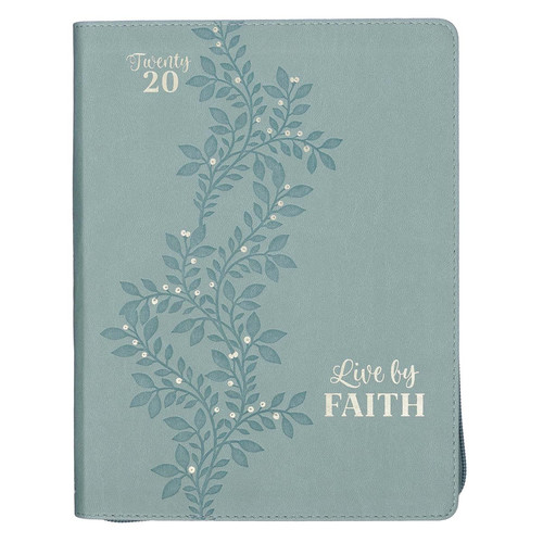 2020 Live By Faith Zippered Faux Leather Daily Planner in Sea Foam Green