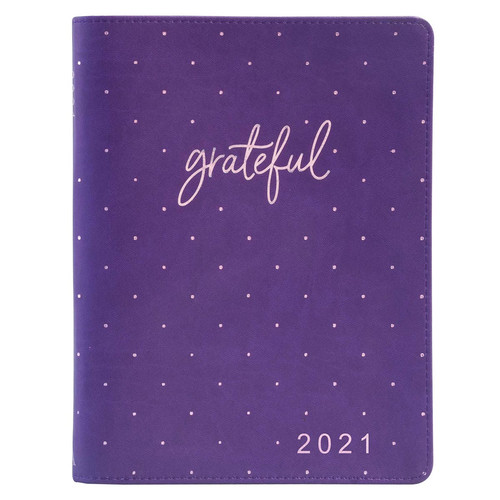 2021 Grateful Large Purple Faux Leather 18-month Planner