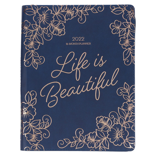 2022 Life is Beautiful Large Zippered Blue Faux Leather 18-month Planner for Women