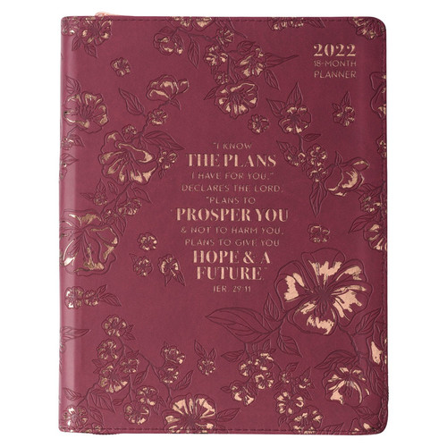 2022 I Know The Plans Large Zippered Purple Faux Leather 18-month Planner for Women - Jeremiah 29:11